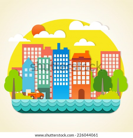 The building of a paper origami, Papercraft panorama town, Vector paper-art, illustration Vector  - stock vector