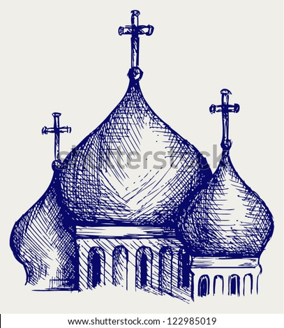 The bulbous domes of orthodox cathedral temple. Doodle style