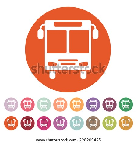 The bus icon. Public transport stop symbol. Flat Vector illustration. Button Set - stock vector