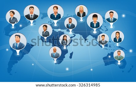 The business communications of the world.A global international business.Character design.Illustration for idea of business.Approach to communication for business. Graphic design and vector EPS 10. - stock vector