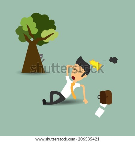 The business was affected by Attacked by enemies sneak behind trees and rocks. The concept of bullying business - stock vector