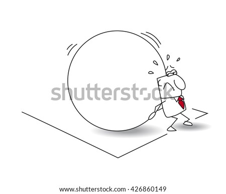 The businessman and the myth of sisyphus. The worker is being condemned to the eternal task of rolling a large stone to the top of a hill. This is the metaphor of a repeat job eternally. - stock vector
