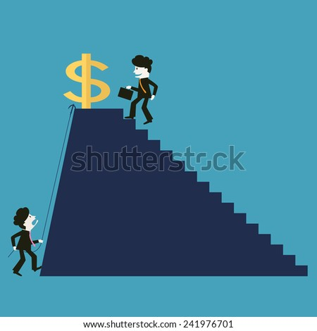the businessman is successful while the competitor is not successful - stock vector