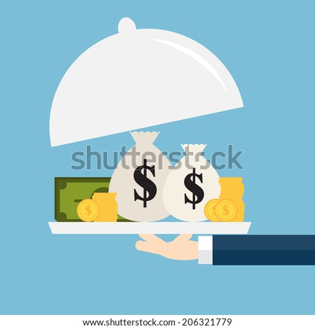The businessman offering  money on the serve plate. The concept of funding a commercial project or investment in bank deposit. Flat design. Vector illustration - stock vector