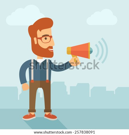 The businessman with a beard shouting in megaphone. Social media marketing concept.  Vector flat design illustration. - stock vector