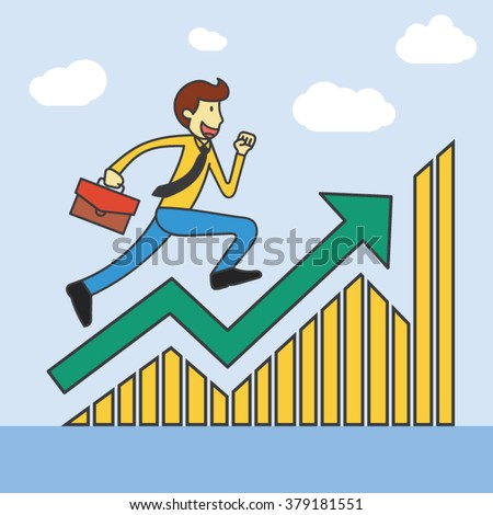 The businessmen with beard is running over growing chart. Perspective Idea concept. Vector flat design Illustration