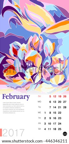 The calendar page. Stylized polygonal image in floral style. Template for card and poster design. December
