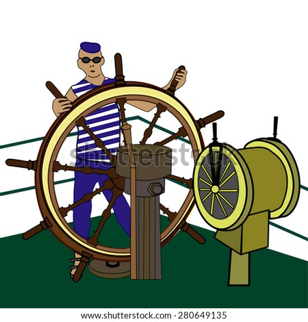 The captain sailor at the helm of the ship vector illustration. Helm of sailing boat vector illustration. - stock vector