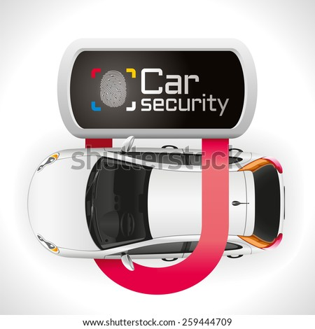 The car is well protected closed padlock - stock vector