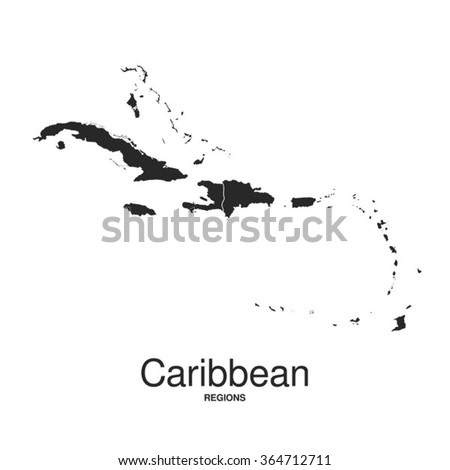 The Caribbean Islands regions map - stock vector