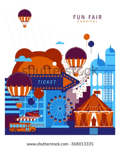 The carnival funfair.Modern Vintage Illustration circus collection with carnival, fun fair,  background and illustration. - stock vector