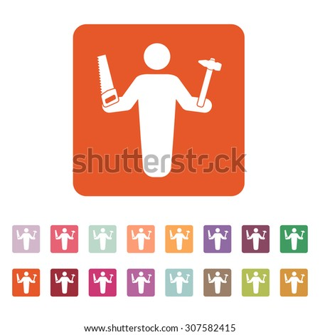 The carpenter avatar icon. Builder and handyman, craftsman symbol. Flat Vector illustration. Button Set - stock vector