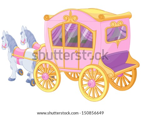 The carriage for true princess - stock vector