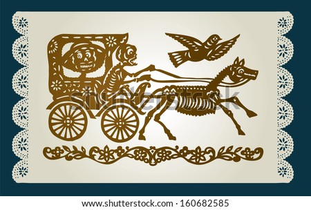 The carriage with the skeletons on the decorative background - stock vector