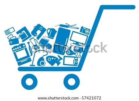 The cart with home appliances