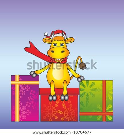 the cartoon bull on the box present - stock vector
