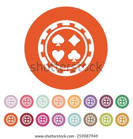 The casino chip icon. Casino Chip symbol. Flat Vector illustration. Button Set - stock vector