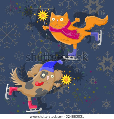 The cat and the dog with sparklers skate on abstract background with snowflakes - stock vector