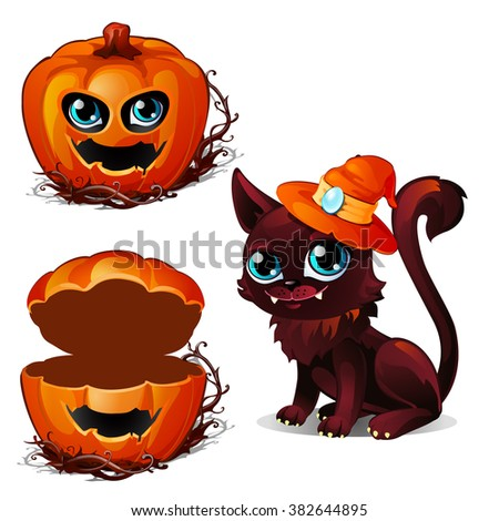 The cat in the hat of the witch and a casket of pumpkin head. Sketch for greeting cards, posters or party invitations Halloween. Vector illustration. - stock vector