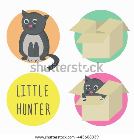 The cat is a little hunter. Cat in box. Vector illustration.