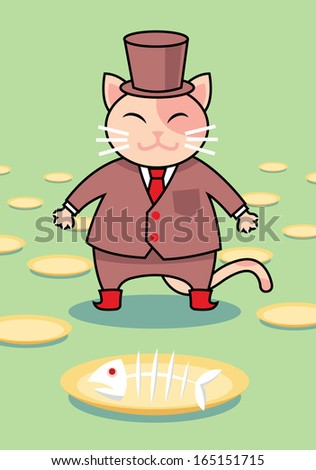 The cat's lunch  - stock vector