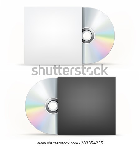 The CD-DVD disc and paper case on the white background - stock vector