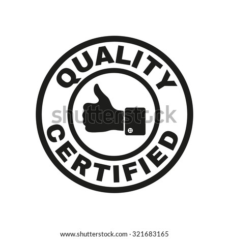 The certified quality and thumbs up icon.  Approval, approbation, certification, accepted symbol. Flat Vector illustration - stock vector