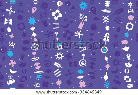 The chain of geometric elements on a blue background. Seamless background with vertical waves. - stock vector