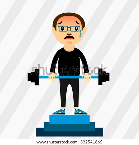 The character weight lifter with equipment. Weightlifter first place, competition, podium. Emotion fatigue.barbell. The mustachioed athlete. - stock vector