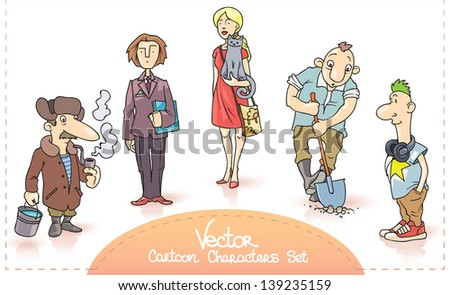 The characters set contains: the old man with a smoking pipe, the businessman with a papers, the young woman with a cat, the digging worker and the young man with a headphones. Enjoy!