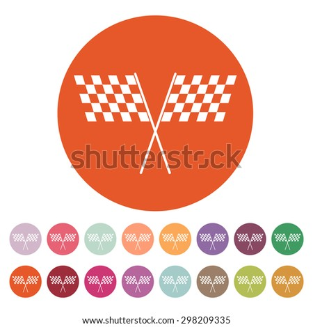 The checkered flag icon. Finish and start, winner symbol. Flat Vector illustration. Button Set - stock vector