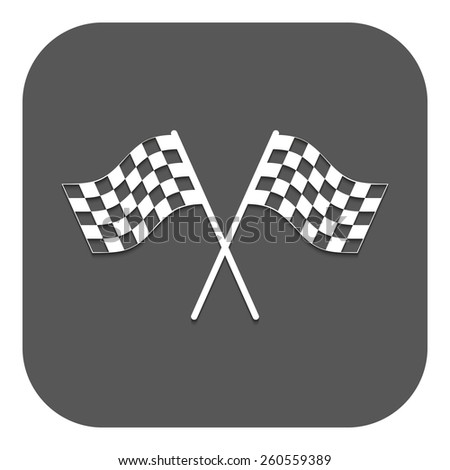 The checkered flag icon. Finish symbol. Flat Vector illustration. Button - stock vector