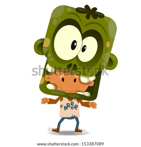 The cheerful boy in a suit of the zombie. Halloween theme - stock vector