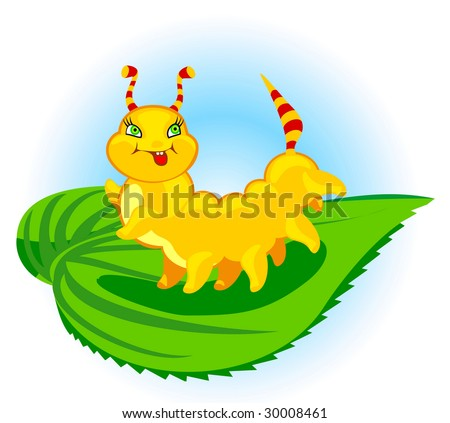 The cheerful caterpillar creeps on a leaf