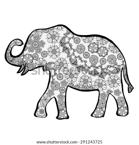 The cheerful elephant. The silhouette of the elephant collected from various elements of a flower ornament. - stock vector