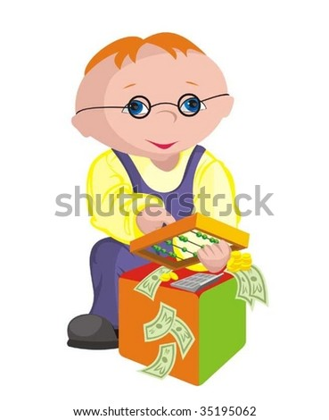 The child - bookkeeper - stock vector