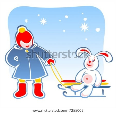 The child carries on sledge the toy rabbit. Digital illustration.