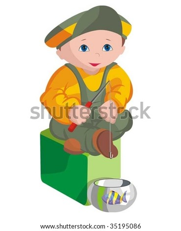 The child - fisherman - stock vector