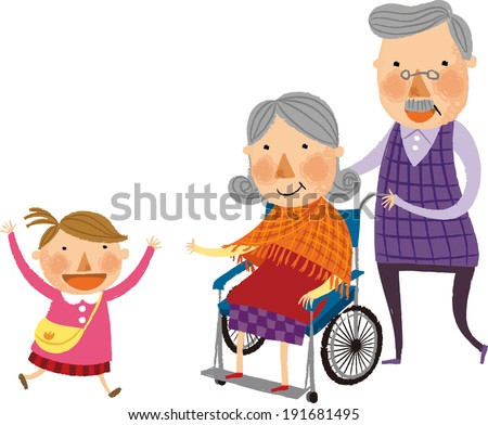 The child is running to grandmother  - stock vector