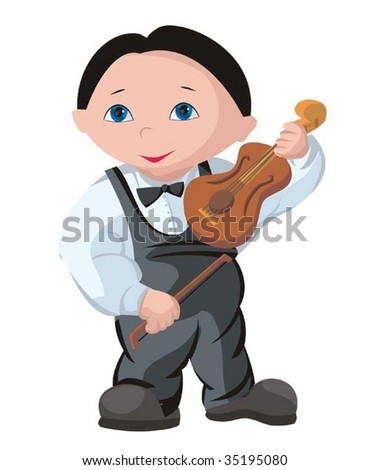 The child - musician - stock vector