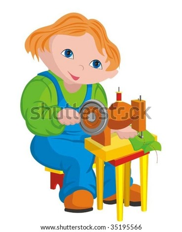 The child - seamstress - stock vector