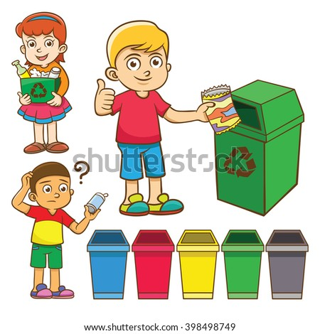 the child waste separation for recycle. EPS10  File simple technique  no Gradients  no Effects no mesh no Transparencies. - stock vector