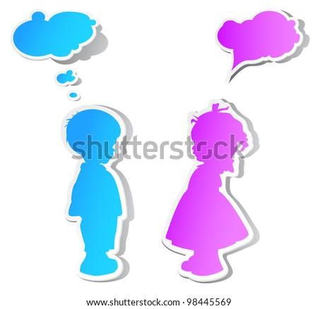 The children with color speech bubbles and shadow - stock vector