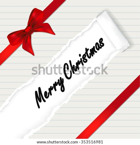 The Christmas background with ribbon and torn paper effect. copy space for your text - vector