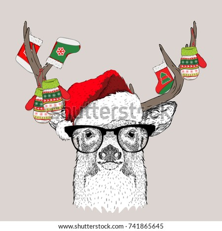 The christmas poster with the image deer portrait in Santa's hat and with a socks and gloves on the horns. Vector illustration.