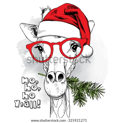 The christmas poster with the image giraffe portrait in Santa's hat and in the glasses with pine branch. Vector illustration. - stock vector