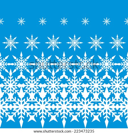 The Christmas Seamless Pattern with decreasing Snowflakes. Vector background