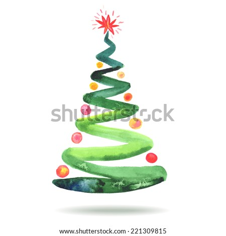 The Christmas tree. Colorful watercolor painting - stock vector