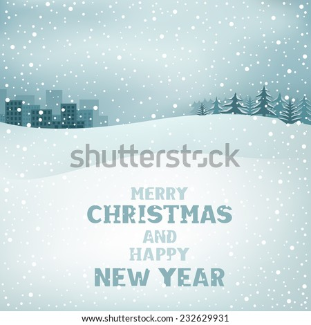 The Christmas winter background, snow, forest and the city on the horizon - stock vector