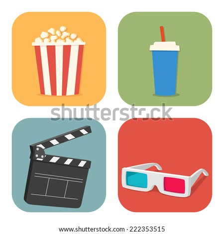 The cinematic illustration. Movie showing with Popcorn, drinks, clapper board and 3D Stereo Glasses - stock vector
